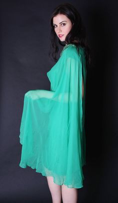 Vintage 1960s Cocktail Dress  Green Chiffon Party by aiseirigh, $94.00