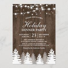 Rustic Wood String Light Pines Tree Holiday Party Invitation Card Invitation, Rustic Invitations, Zazzle Invitations, Shower Invitations, Invites, Business Invitation, Invitation Ideas, Invitation Templates, Rehearsal Dinner Invitations