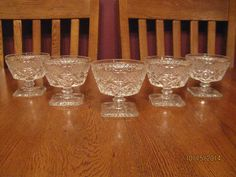 Five Vintage Imperial Glass Cape Cod Clear Footed Low Sherbet Dish ~ Champagne