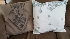 Pillows Stamped with IOD stamps and Decor Ink