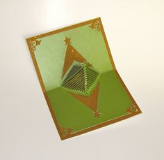 handmade pop up cards   Christmas Tree 3D Pop Up Greeting Card and Decoration. Handmade Cut by ...