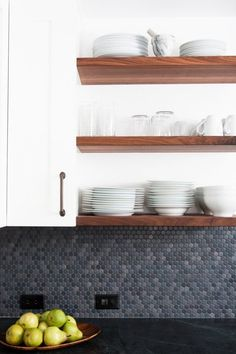 Today we are going to take a look at Penny Round tiles. The Penny Rounds made today are meant to mimic the small round tiles from many decades ago. Kitchen Shelves, Wood Shelves, Kitchen Backsplash, Open Shelves, Floating Shelves, Backsplash Ideas, Penny Backsplash, Backsplash Design, Walnut Shelves