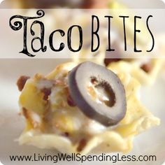 Taco Bites--full taco flavor in a handy little bite-sized package. #taco #appetizer. Wouldn't this be a perfect football appetizer or snack?