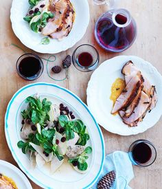 Slow-cooked turkey breast with mâche, pear and cranberry salad by Justin North. Gourmet Traveller.