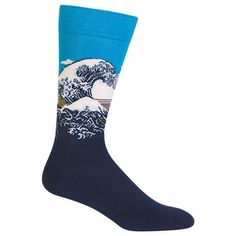 Blue Patterned Men's Great Wave Socks