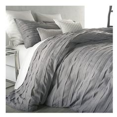 DKNY 'Loft Stripe' Duvet Cover (550 ILS) ❤ liked on Polyvore featuring home, bed & bath, bedding, duvet covers, grey, striped twin bedding, grey king size bedding, stripe bedding, dkny bedding and striped bedding