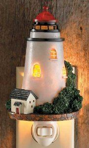 """Light House Night Light by Wild Wings. $29.99. Cold cast and realistically hand-painted to look opaque and lifelike by day; translucent at night when the light is on. A night time trek down the hall need never be lonely with this spirited collection of sporting and big game night lights. UL listed. Sizes vary from 3-7.5"""" H. A night time trek down the hall need never be lonely with this spirited collection of sporting and big game night lights. Cold cast and realistically ..."""