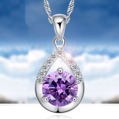 Charming Jewelry Switzerland Drill Female Short Clavicle Chain Pendant Necklace Color Purple White NL-0726