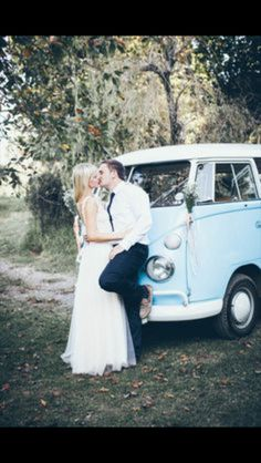 Romantic couple with vw Splitscreen campervan
