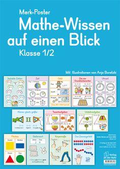 Merk-Poster - Mathe-Wissen auf einen Blick - Klasse 1/2 ++ #Organisationshilfe für den Klassenraum, Fach: #Mathematik ++ Ob Grundrechenarten, geometrische Formen, Längen- oder Gewichtseinheiten – diese 12 übersichtlichen und dekorativen Poster geben blitzschnell Antworten auf die häufigsten Fragen – und lassen sich flexibel einsetzen. #Grundschule