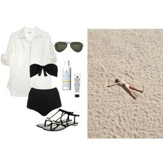 Untitled #42 by coffeestainedcashmere featuring a scalloped bikiniSteven Alan blouse / Scalloped bikini / Strappy leather sandals, $145 / Ray-Ban ray ban optical, $185 / Kiehl's lip treatment / Kiehl s beauty product, $44