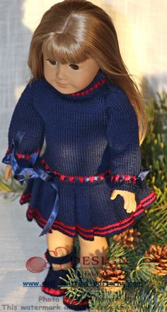 Lovely Christmas doll dress knitting pattern