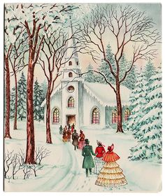 vintage Christmas card-going to church