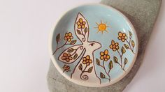 Ceramic Pottery White Hare Dish Ostara Hare by RowanSongCrafts