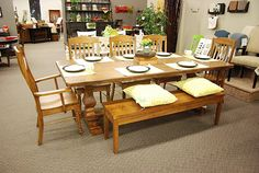 Bench Made rectangle dining table available at Jacob's Upholstery. This contemporary aged saddle finished dining table can complete any home.