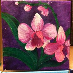 Mini canvas painting #orchid #diy #mywedding