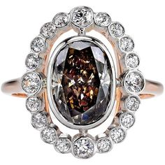 Preowned Beautiful 2.41 Carat Brown Oval Cut Diamond Gold Platinum... ($16,000) ❤ liked on Polyvore featuring jewelry, rings, brown, oval cut engagement rings, diamond rings, 18k yellow gold ring, 18k diamond ring and gold diamond rings