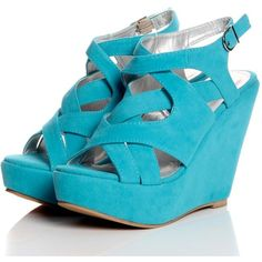 Landra Turquoise Strap Suedette Wedges found on Polyvore