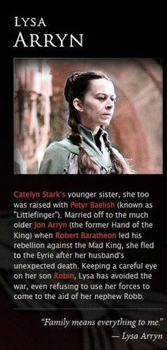 Lysa Arryn - game-of-thrones Photo Best Tv Shows, Best Shows Ever, Favorite Tv Shows, Valar Morghulis, Winter Is Here, Winter Is Coming, Petyr Baelish, Hand Of The King, Movies