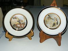 2 Chokin Plates Peacock King Fisher Gold Silver Engraving Action Made in Japan | eBay