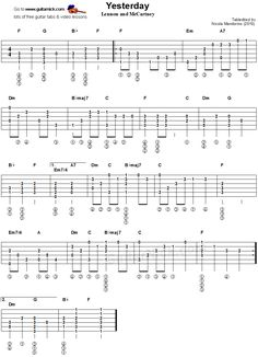 Yesterday - fingerstyle guitar tablature