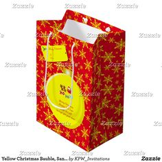 Yellow Christmas Bauble, Santa & Sleigh Snowflakes Medium Gift Bag