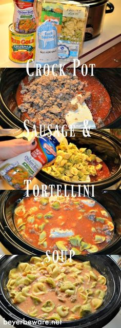 This creamy, cheesy, spicy crock pot sausage tortellini soup is perfect for a weeknight when you need filling meal waiting for you when you get home. # Food and Drink meals crock pot Crock Pot Sausage Tortellini Soup - Beyer Beware Creamy Tortellini Soup, Sausage Tortellini Soup, Tortellini Recipes, Tortellini Crockpot, Sausage Soup, Crock Pot Sausage, Chicken Tortellini, Pesto Chicken, Sausage Crockpot Recipes