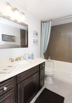 We like options. With this recent remodel we chose simple and elegant. Bathtub Liners, Shower Panels, Condo Living, Beauty Shots, Mirror, Simple, Furniture, Bathroom Ideas