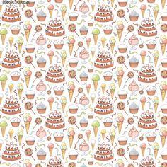 Бумага для скрапбукинга двухсторонняя С Днем Рождения! Десерт