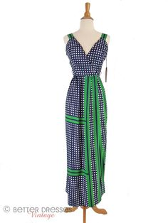 Vtg 1960s or early 1970s Maxi Sundress Navy Blue & Kelly Green - xs, sm by Better Dresses Vintage