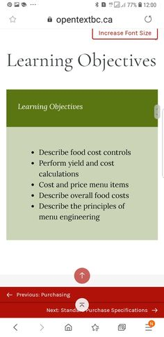 Menu Engineering, Food Cost, Learning Objectives, Menu Items, Learning Targets