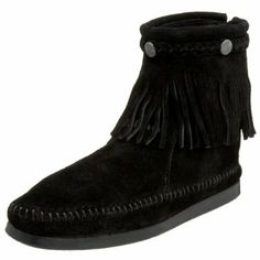 Minnetonka Women's 299 Back-Zip Boot Now for 53.95. suede. Rubber sole. Shaft measures approximately 5 1/2 from arch. Heel measures approximately 1/2. Boot opening measures approximately 10 1/2 around. Soft And Comfy Suede Leather Upper. Accenting suede leather braid, suede fringe and pewter-tone collar ornaments. Easy-on back zipper closure