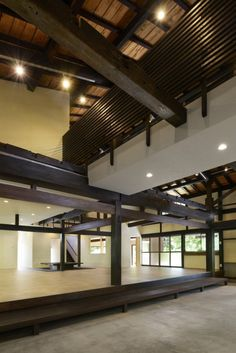 C-House / Yasuhiro Sone.   Renovation of an old wooden 2-story Japanese style house.  The architect He also left beams and pillars and removed 2nd floor and partition walls.  The living rooms and a bathroom were put into side of space, and  in the middle of space, each room is connected by catwalk. Photos © Hideo Mori  http://www.archdaily.com/545074/c-house-yasuhiro-sone/