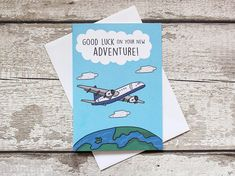 The perfect good luck card for friends moving on to new adventures  An original The Art Cave Creations design, hand drawn then digitally coloured for a smart, saturated finish. Printed onto smooth, sleek and sturdy 300 GSM card. A5, white paper envelope included.  We now offer world wide shipping! If youd like to keep an eye on how how your order is progressing, you can upgrade to International Tracked and Signed Postage when you select your shipping option! Spend £5 at The Art Cave…