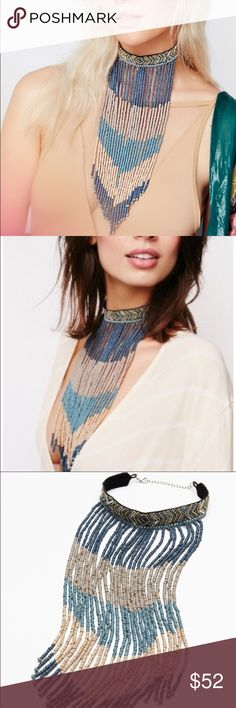"Free People Fringe Choker Tribal-inspired beaded choker featuring statement fringe detailing made up of wooden beads. Adjustable lobster clasp closure.  Wood Beads Glass Metal Cotton Import Length: 12.0"" = 30.48 cm  