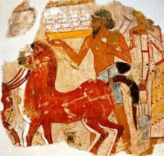 Fragment from tomb of Sebekhotep, assistant to the Pharaoh, Thebes. Depicts Syrians bringing horses as tribute to the Egyptians. British Museum, London, U.K.