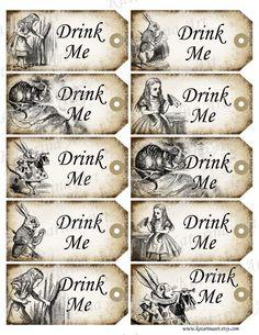 free printable alice in wonderland | DRINK ME - Alice in Wonderland printable gift Hang Tag. Whimsical ...
