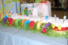 This is an adorable Caterpillar diaper cake that I made for a friends baby shower. So much fun and cute!