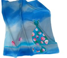 Blue silk neckerchief with flowery cat. Hand painted by SilkAgathe.