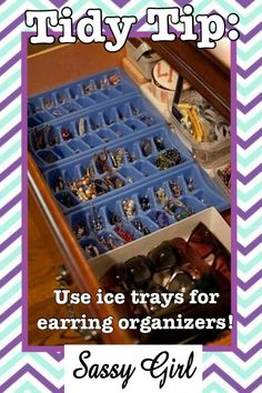 Sassy girl tidy tip jewelry organization: use ice trays for earrings! Spray paint to match your decor!
