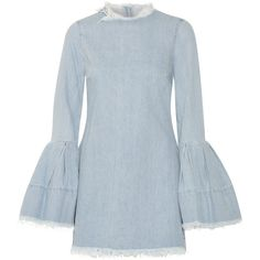 Marques' Almeida Frayed denim mini dress ($435) ❤ liked on Polyvore featuring dresses, light denim, long-sleeve mini dress, long-sleeve denim dresses, sleeved dresses, structured dress and blue denim dress