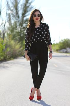 Heart blouse, pop of color in the shoes