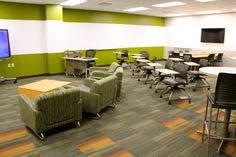 This looks like a fun place to learn!  KI Sela with easy slide sled base, Learn2 mobile tablet chairs, Backbone Media Sharing solution, and Cafe height tables and chairs.