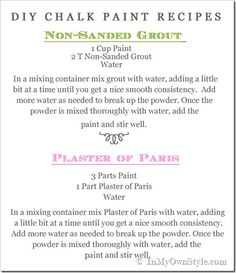 DIY Chalk Paint Recipes for Non Sanded Grout and Plaster of Paris