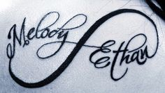 I don't usually like infinity tattoos but this font looks good with it, I am looking for a tat for my two kids....