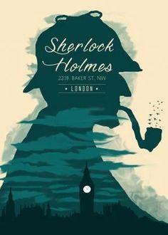 sherlock holmes posters - metal posters - Displate Retro Design, Design Art, Sherlock Holmes Watson, Tomb Raider Movie, Sherlock Poster, Holmes Movie, Minimal Poster, Minimalist Art, Film Movie