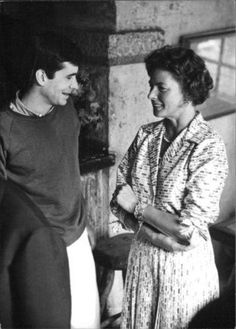 """Ingrid Bergman with Anthony Perkins on the set of """"Goodbye Again, Aimez-vous Brahms?"""" (1961)"""