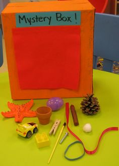 Mystery Box--Let kids feel objects, describe them, & them guess from Kreative Resources;this is like the game Ned's Head; Be careful with this in the older grades!