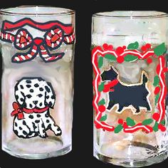 Hand painted Puppies on Dog Drinking Glasses http://www.clearlysusan.com/-Hand-Painted-Puppies-on-Dog-Drinking-Glasses-_p_109.html $28.00