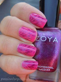 Zoya Nail Polish in Lara stamped with Zoya Carly - beautiful!